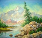 Oil in Canvas, Swiss Montain by PenturaCara