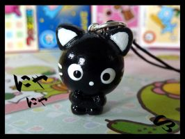 Black Cat Phone Charm by FlyingPandaGirl