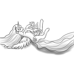 Celestia and Filly Twilight Catplay by Thorheim