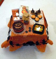 Halloween orange table by miniacquoline