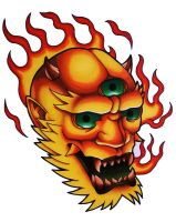 Flaming Japanese mask by funkt-green