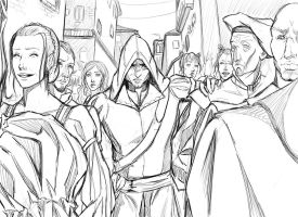 Crowded area sketch by SilvesterVitale