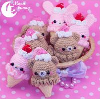 Crochet ice cream bear Charm By Moon Bunny by CuteMoonbunny