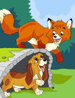 The Fox and the Hound. by CrowMaiden