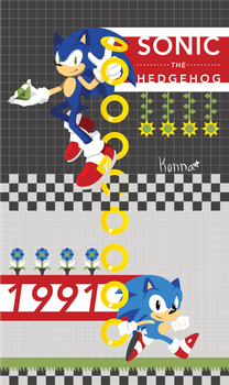 Modern and Classic Sonic Vector Phone Background by KonKonna