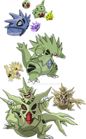 246, 247 and 248 - Larvitar Evolutionary Line by Tails19950