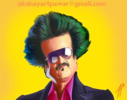 Rajnikanth - bollywood poster style caricature. by AkshayArtPawar