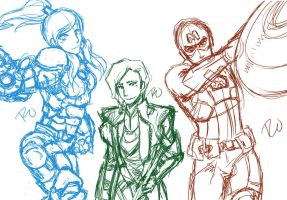 Korra Avengers sketch collection 1 by PGxSCRIBBLESx27