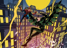 Unmasked SpiderMan Vs Vulture by Cabbral