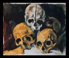 Pyramid of Skulls, Homage to  Paul Cezanne by TheLittlestGiant