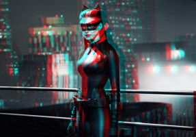 Catwoman on a rooftop... in 3D by homerjk85