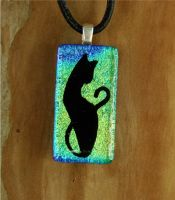 Yellow Green Cat Fused Glass by FusedElegance