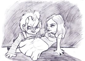 Chucky and Tiffany Plus One by xEvilxPenguinxNinjax