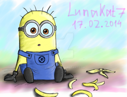 Minion and bananas by LunaKat7