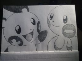 Plusle and Minun by 8bitsofawesome