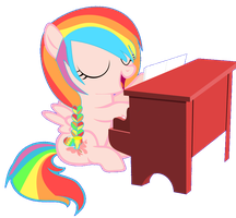sweet rainbow playing on piano by Moonlight-The-Pony