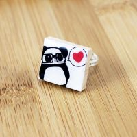 Nerdy Panda Love Scrabble Ring by Panduhmonium