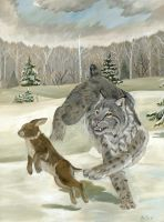 The Dance of Predator and Prey by LittleForestWolf