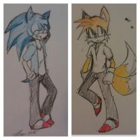 Sonic and Tails new style by MESS-Anime-Artist