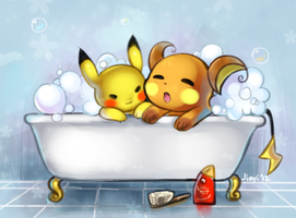 Bathtime with Raichu and Pikachu by Jiayi