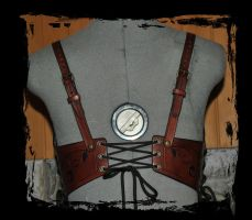 leather bra back view by Lagueuse