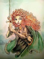 Brave - Merida 4/4 - watercolors by dreamflux1
