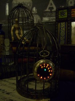 Bronze steampunk, nautical LED pocket watch. by ScatterbrainEmp