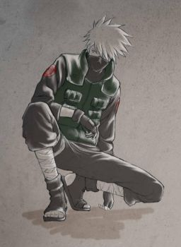 Kakashi kneel by Quill-q