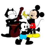 Oswald, Felix and Mickey playing instruments by ElMarcosLuckydel96