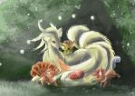 Ninetails and Vulpix by SuperRobotRainbowOwl