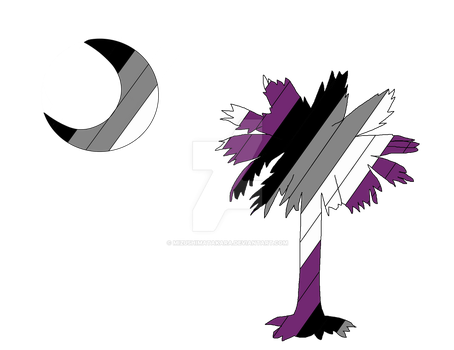 Asexual Pride Flag Palmetto Tree- SC Pride by mizushimatakara