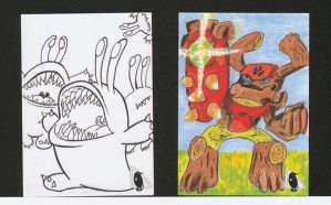 Skylanders: Chompies n TreeRex sketch cards by PlummyPress