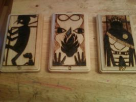 Persona Woodburned Tarot Cards by cutiechibi