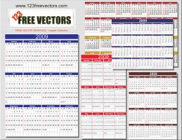 2009 calendar in 6 formats by 123freevectors