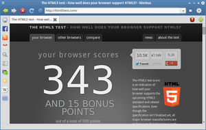 Nimbus 0.1.3pre using WebKit 534.34 - HTML5 test by foxhead128