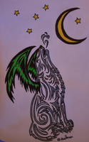 My third tribal art design Demon wolf by Wolfwoman24