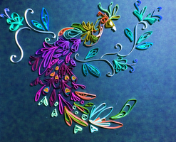 quilling Peacock by o0WhiteRaven0o