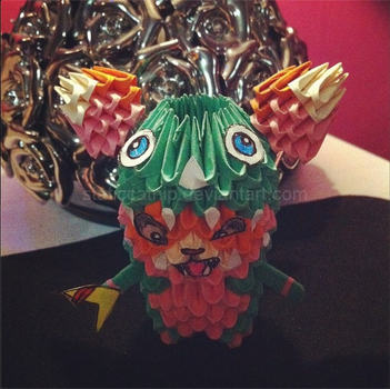3D Origami: Dino Gnar (League of Legends) by inyeon