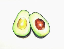 Avocado Watercolor Painting by Yve4882