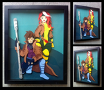 Commission: Rogue + Gambit Shadowbox by The-Paper-Pony