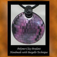 Bargello Polymer Clay Pendant by KabiDesigns
