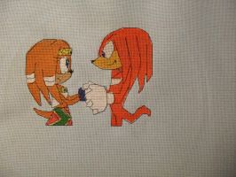 Tikal and Knuckles cross stitch by Nikkirose555
