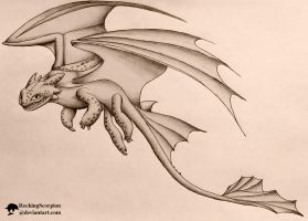 Toothless Pencil Drawing by RockingScorpion
