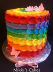 Rainbow buttercream petal cake- outside by Corpse-Queen