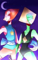 Pearl and Peridot by xlemany