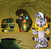 Zecora at her hut by Andromedasparkz