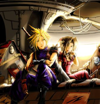 Cloud and Aerith on the rooftops by Naeles