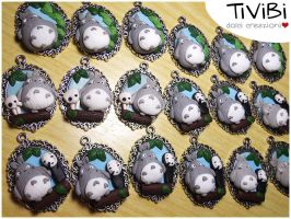 WiP Totoro Necklaces by tivibi