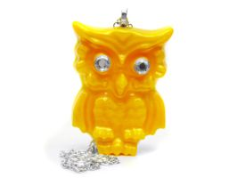 Yellow Owl Necklace by pila12903