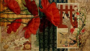 Poppies in Vintage Asian by StarwaltDesign